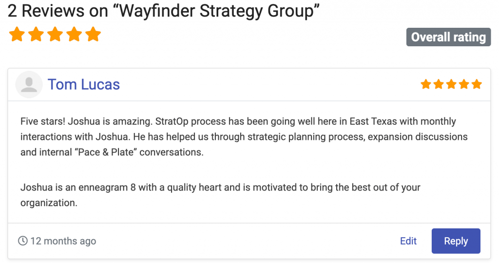 Nonprofit consulting firm review - Wayfinder Strategy Group on the NPCrowd nonprofit consultant directory.